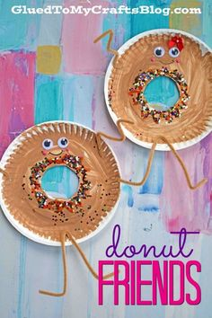 Paper Plate Donut Friends - Valentine s Day Kid Craft gluedtomycrafts Valentine's Day Crafts For Kids, Daycare Crafts, Craft Projects For Kids, Summer Crafts, Fun Crafts, Art For Kids, Arts And Crafts, Kids Food Crafts, Kid Art