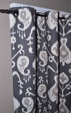 """84 Inch Long Charcoal Grey Ikat Grommet Curtains - 25"""" Wide x 84"""" Long - Two Panels - FREE SHIPPING - Modern Neutral Curtains"""