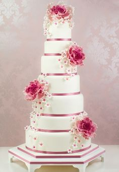 White and Pink Wedding Cake with Vintage Peonies