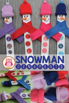 Make a snowman ornament using a craft stick and knit gloves. This is a fun craft to make with kids.