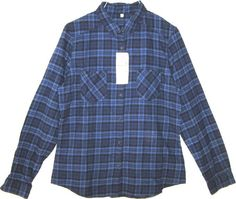 NEW MUJI Organic Cotton Plaid Shirt Blue Flannel Button Down Front Blouse Top L #Muji #ButtonDownShirt #Casual