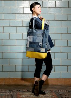 royal shopper bag fade out label denim leather