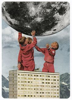 Collage moon children. Ideas for DIY postcards. Cut and paste.