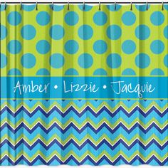 Chevron Polka Dot Personalized Shower Curtain - Lime Rikee Designs