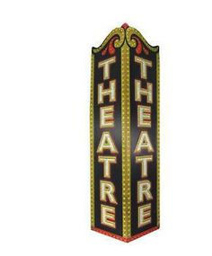 Theatre Triangle Embossed Tin Sign