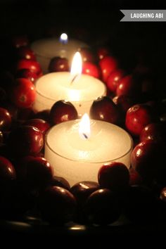 12 Days of Easy Christmas Decorating: Quick Cranberry Candlescape - Laughing Abi