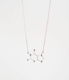 Подвеска на шею, украшение в форме молекулы кофеина. Изящный кулон на цепочке из металлического сплава с посеребрением.  Кофеин это не просто вещество, это — часть современной культуры. Кулон-молекула — простой, но элегантный подарок любительнице кофе. Minimal Jewelry, Silver, Money