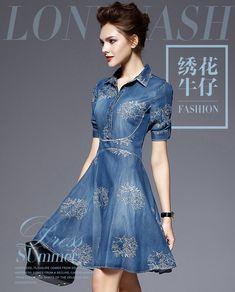 2016 Vestido de Jeans Mulheres Plus Size Meia Manga Vestido de Verão Azul Denim Jeans Vestido Para Mulheres Ocasional Das Senhoras Vestido de Festa em Vestidos de Moda e Acessórios no AliExpress.com | Alibaba Group