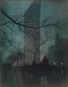 photographer, Edward Steichen, The Flatiron, 1904, color added to platinum print
