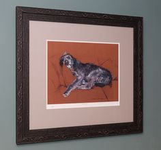 Limited edition print of a pastel drawing, mounted and framed picking up on the texture and colours in the dogs hair.