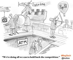 Banking vs Fintech: We're doing all we can to hold back the competition. G Tech, Financial Institutions, Competition, Hold On, Living Room, Comics, Naruto Sad, Home Living Room, Drawing Room