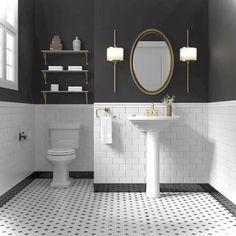 Gorgeous Black And White Subway Tiles Bathroom Design Black White Bathrooms, White Bathroom Tiles, White Subway Tiles, Bathroom Flooring, Black And White Bathroom Ideas, Wainscoting Bathroom, Painting Bathroom Tiles, Bath Tiles, Gold Bathroom