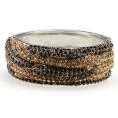 Modern Cuff Bracelet in SilverTone with Honey and Black Rhinestones Absolute Accessory. $32.95. silver tone metal. approx 1 in tall. lead and nickel free