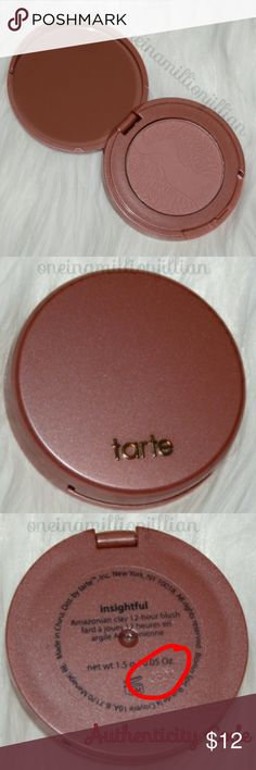 Tarte Amazonian Clay 12hr Blush - Insightful LIMITED EDITION  New - Never Used  .05oz travel sz - Authentic  Color: Insightful (peachy nude)  A long-wearing, solar-baked blush that lasts up to 12hrs  Infused with natural clay harvested from the banks of the Amazon River & naturally baked by the sun, this nutrient-rich blush benefits all skin types for a fade-free flawless finish that lasts an amazing 12hrs.  Don't forget to bundle! #oneinamillionjillian tarte Makeup Blush