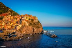 The village of Manarola at the sunset | Cinque Terre, Liguria, Italy | #stockphotos #gettyimages #print #travel