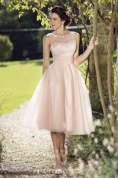 A-line Blush Tulle Illusion Neck Tea Length Sleeveless Bridesmaid Dress