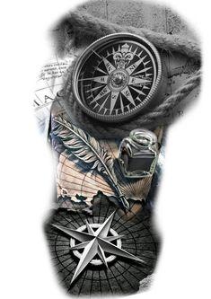 Cool Half Sleeve Tattoos, Cool Forearm Tattoos, Leg Tattoos, Arm Band Tattoo, Body Art Tattoos, Tattoos For Guys, Black Tattoos, Clock Tattoo Design, Armband Tattoo Design