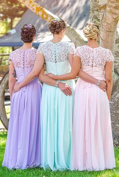 Mismatched floor length lace and chiffon bridesmaid dresses. Buy Here: http://www.forherandforhim.com/lace-and-chiffon-dress_3344.html#.Vo2InvF3QUE