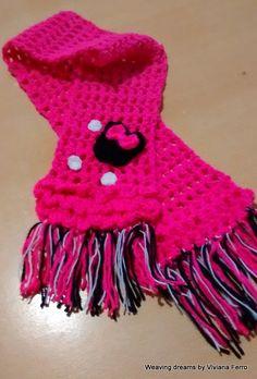 Bufanda para niña tejida al crochet, de Minnie