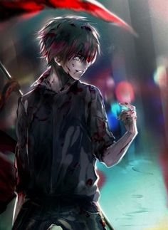 Anime picture with tokyo ghoul studio pierrot kaneki ken daenarys single tall image short hair black hair red eyes smile fringe looking away grey eyes heterochromia open collar outdoors bloody clothes male shirt blood Manga Tokyo Ghoul, Itori Tokyo Ghoul, Ken Kaneki Tokyo Ghoul, Manga Anime, Anime Body, Fanarts Anime, Ayato, Easy Manga, Anime Characters