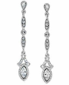 Downton Abbey Silver-Tone Crystal Navette Linear Drop Earrings - Fashion Jewelry - Jewelry & Watches - Macy's
