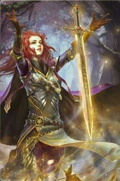 Warrior Princess Abilynn summons forth An Anotais, the Great Sword of Eyru the Magnificent, from the Otherwold. Fantasy Warrior, Fantasy Rpg, Medieval Fantasy, Fantasy Artwork, Dark Fantasy, Woman Warrior, Dungeons And Dragons Characters, Fantasy Characters, Female Characters