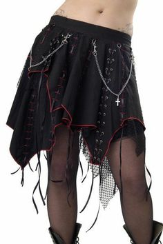 Dead Threads punk gothic short black skirt with ribbons and chains size 12
