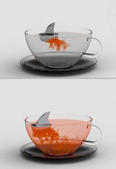 'Sharky' tea infuser  We like designer Pablo Matteoda's sense of humour, especially when it results in a perfectly brewed cup of tea. Create your own set of Jaws in your tea cup with the floating shark fin leaving ribbons of steeped tea in the hot water, creating a scene reminiscent of, well, a shark attack. Definitely an accessory to get conversation going at the office tea room. (credit: Looks Like Good Design)