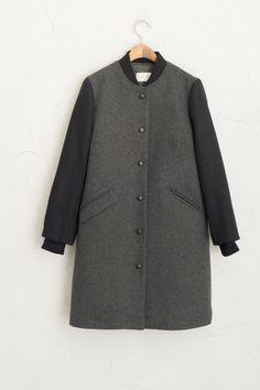 Block Colour Varsity Coat Grey 60% Wool, 40% Nylon.