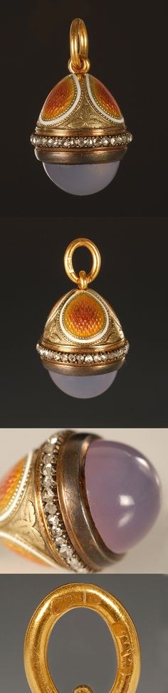 A Faberge gold mounted jewelled enamel miniature pendant egg, workmaster Henrik Wigstrom, ST Petersburg, ca 1905, with scratched inventory n...