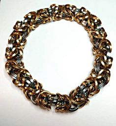 Byzantine Bangle Bracelet, chainmaille, square wire (cut as diamond) 14g rings, mixed stainless steel & bronze. $80