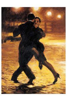 "Aldo Luongo's ""Tango and Cobblestones"" Hand Embellished Multiple Original"