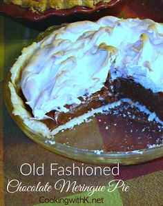 Old Fashioned Chocolate Meringue Pie, creamy rich chocolate filling adorned with fluffy meringue in a flakey crust, just like grandma use to make.