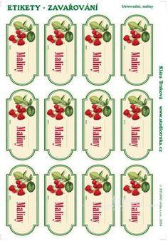 Samolepicí etikety, zavařování maliny