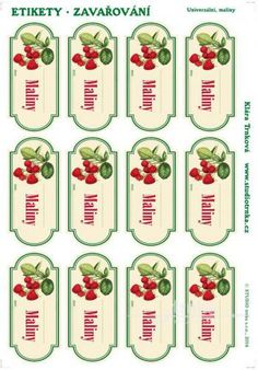 Samolepicí etikety, zavařování maliny Printables, Holiday Decor, Creative, Crafts, Handmade, Elderflower Wine, Manualidades, Hand Made, Print Templates