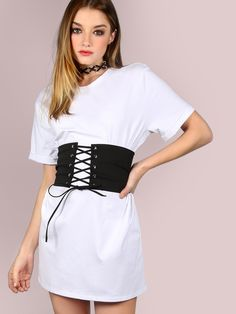 Shop Belted Corset Shirt Dress WHITE online. SheIn offers Belted Corset Shirt Dress WHITE & more to fit your fashionable needs.