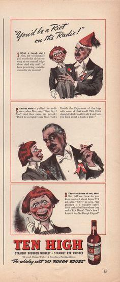 1939 Vintage Ten High Bourbon Whiskey Youd Be A Riot Print Ad | eBay