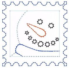 Snowman Postage Stamp Paper Embroidery Pattern for by Darse, $1.50