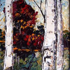 Maya Eventov 20th C impressionist landscape with silver birch trees signed