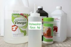 Save money by making your own dishwasher rinse aid! Just 4 ingredients and you're on your way to sparkling clean dishes!