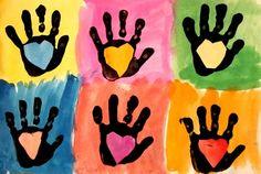 Handprint and Heart Pop Art