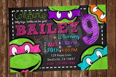 Girl Teenage Mutant Ninja Turtle Birthday Invitation by Denleys