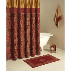 Gold Embroidered Fabric Shower Curtain with Scalloped Valence ...