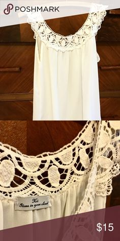 Kii Items In your Closet Lace Tunic Size Small White flowy Tunic with Lace Neck detail Like new, worn once kii Tops Blouses