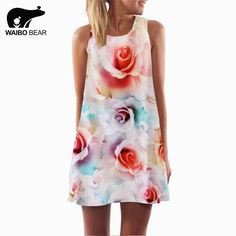 New Women Rose Printed O-Neck Mini Club Elegant Floral Dress Evening Party Sleeveless Chiffon Casual Dresses Isn`t it awesome? www.lady-fashion.... #shop #beauty #Woman's fashion #Products