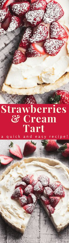 and Cream Tart ~ a simple spring dessert with an easygoing elegance. (You won't believe how simple the filling is!)Strawberries and Cream Tart ~ a simple spring dessert with an easygoing elegance. (You won't believe how simple the filling is! Spring Desserts, Easy Desserts, Delicious Desserts, Dessert Recipes, Tart Recipes, Sweet Recipes, Baking Recipes, Fruit Dishes, Strawberry Desserts