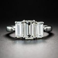 2.22 Carat Three-Stone Emerald-Cut Diamond Ring - 10-1-7175 - Lang Antiques Emerald Cut Diamonds, Three Stone Rings, 21st Century, Bling Bling, Sapphire, Jewel, Stones, Rings, Bling