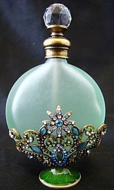 Green Glass Rhinestone Flower Perfume Bottle