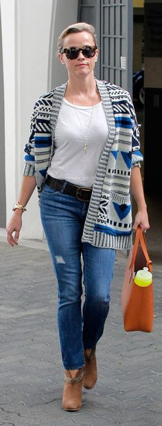 Reese Witherspoon goes for the single rip when it comes to her denim.