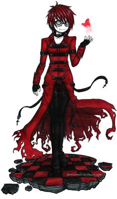 Ayce Crimson by Demiseman. It reminds me of Grell from Black Butler. Emo Pictures, Creepy Pictures, Emo Pics, Emo Art, Goth Art, Beautiful Artwork, Cool Artwork, Gothic Drawings, Gothic Artwork